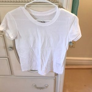 Free People cropped white scoop neck tee